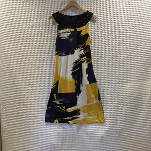 Peter Nygard watercolor silk shift dress